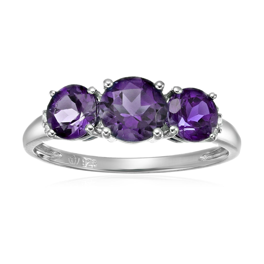 Sterling Silver African Amethyst and Diamond Accented 3-stone Engagement Ring - pinctore
