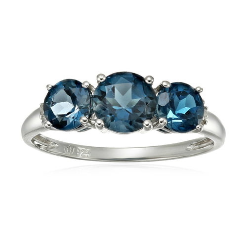 Sterling Silver London Blue Topaz and Diamond Accented 3-stone Engagement Ring - pinctore