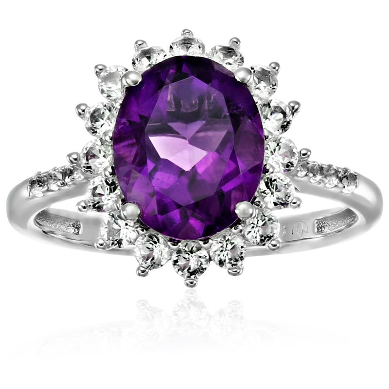 Sterling Silver African Amethyst And Created White Sapphire Engagement Halo Engagement Ring - pinctore