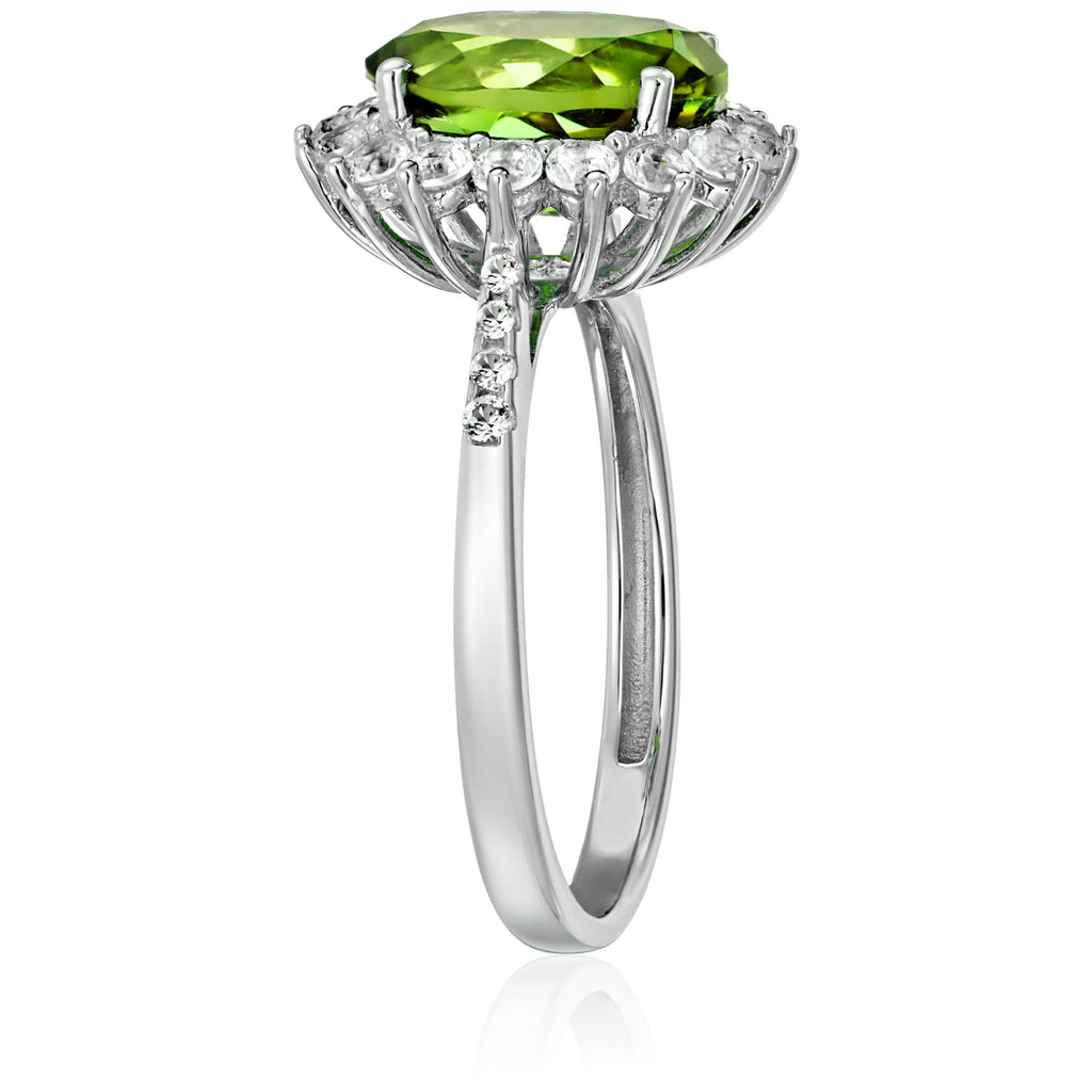 Sterling Silver Peridot And Created White Sapphire Engagement Halo Engagement Ring - pinctore