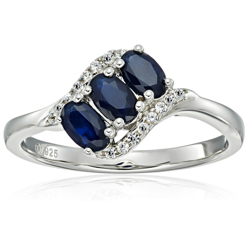 Sterling Silver Genuine Blue Sapphire And Created White Sapphire 3-stone Engagement Ring - pinctore