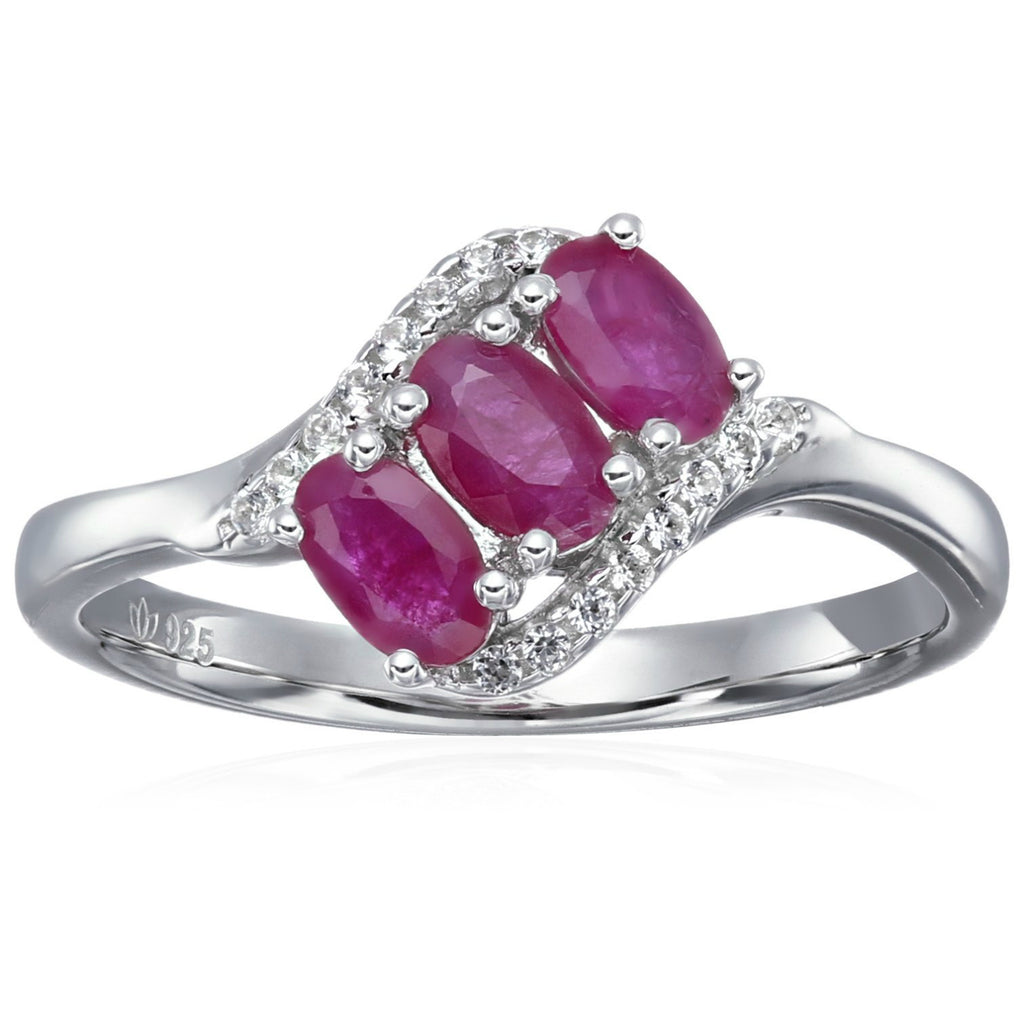 Sterling Silver Genuine Ruby And Created White Sapphire 3-stone Engagement Ring - pinctore