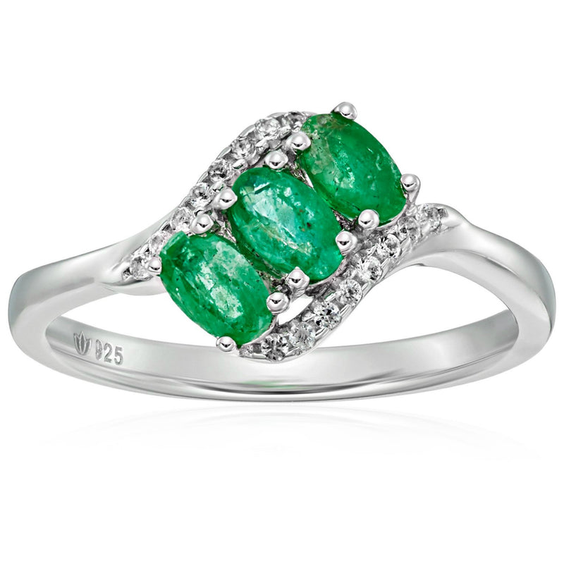 Sterling Silver Genuine Emerald And Created White Sapphire 3-stone Engagement Ring - pinctore