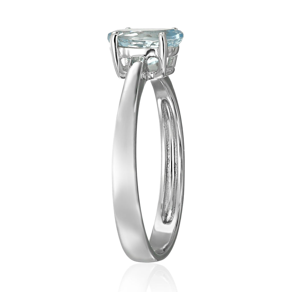 10k White Gold Aquamarine Oval Solitaire Engagement Ring - pinctore