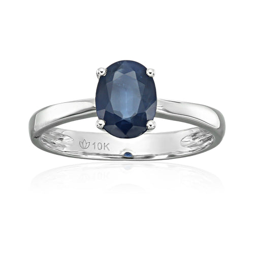 Pinctore 10k White Gold Genuine Blue Sapphire Solitaire Engagement Ring - pinctore