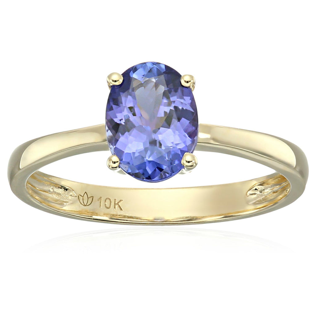 Pinctore 10k Yellow Gold AAA Tanzanite Oval Solitaire Engagement Ring - pinctore