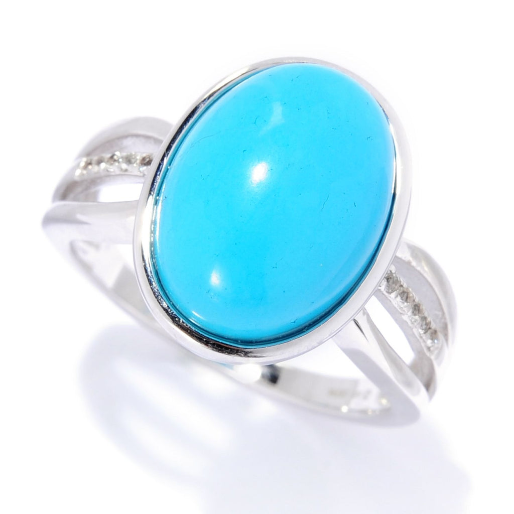 Pinctore Sterling Silver 14 x 10mm Sonora Beauty Turquoise & White Topaz Ring - pinctore