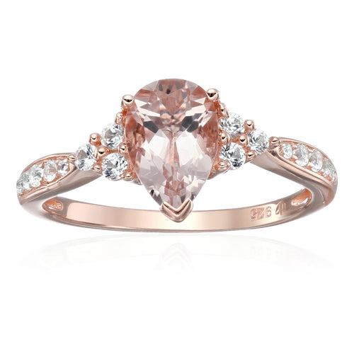 Pinctore SterSilver Morganite & Created White Sapphire Classic Engagement Ring - pinctore