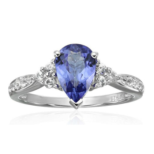 Pinctore Ster Silver AAA Tanzanite, Created White Sapphire Classic Ring - pinctore