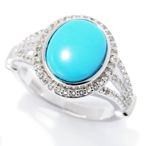 Pinctore Sterling Silver Sonora Beauty Turquoise & White Topaz Ring - pinctore