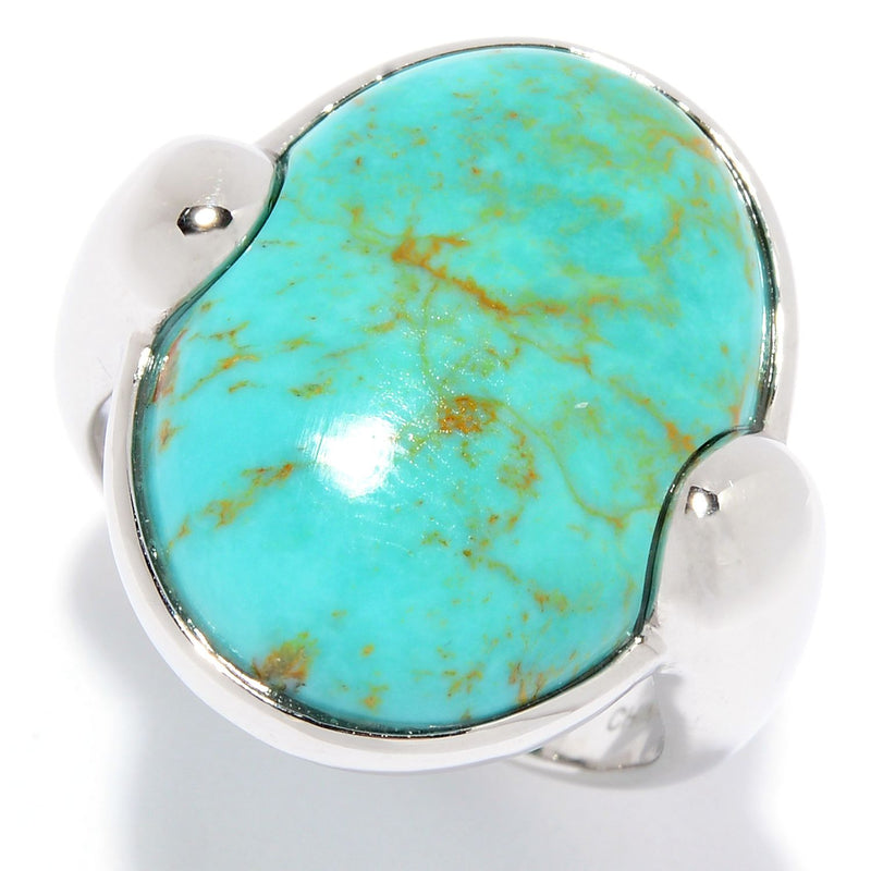 Pinctore Sterling Silver 20 x 15mm Oval Tyrone turquoise North-South Ring - pinctore