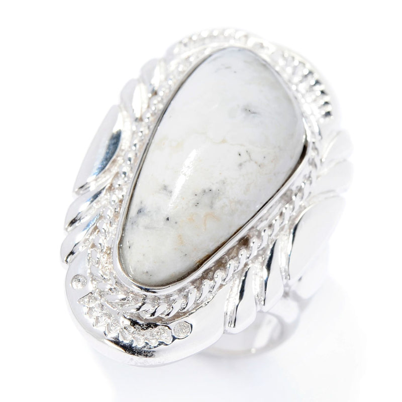Pinctore Sterling Silver 22 x 10.5mm White Buffalo Quartz Ring - pinctore