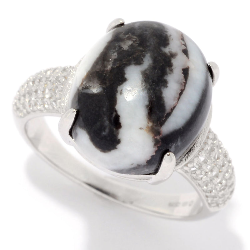 Pinctore Sterling Silver Oval White Buffalo Calcite Quartz & White Topaz Ring - pinctore
