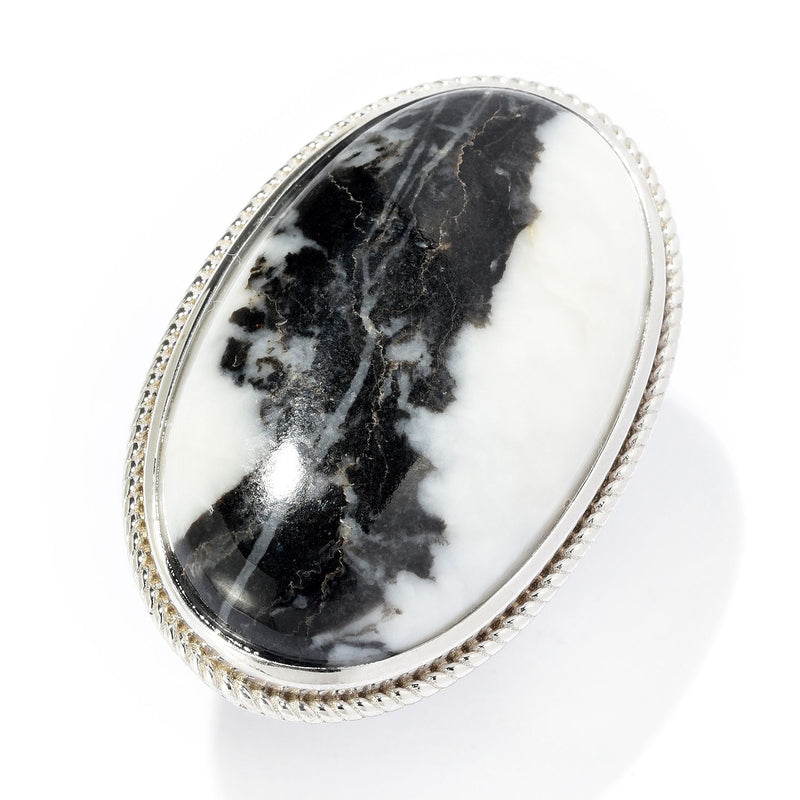 Pinctore Sterling Silver 33 x 20mm Oval White Buffalo Ring - pinctore