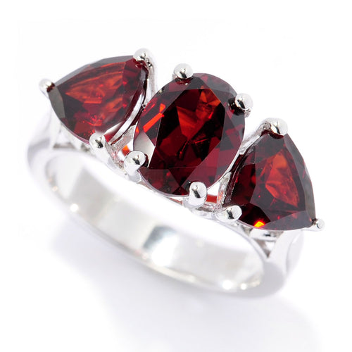 Pinctore Sterling Silver Oval & Trillion Red Garnet Ring - pinctore