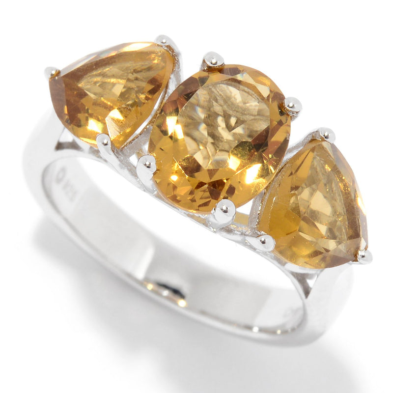 Pinctore Sterling Silver Oval & Trillion Whiskey Quartz Ring - pinctore