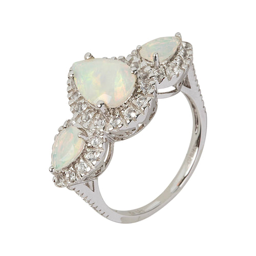 Pinctore Sterling Silver Ethiopian Opal & White Topaz 3-Stone Halo Ring - pinctore