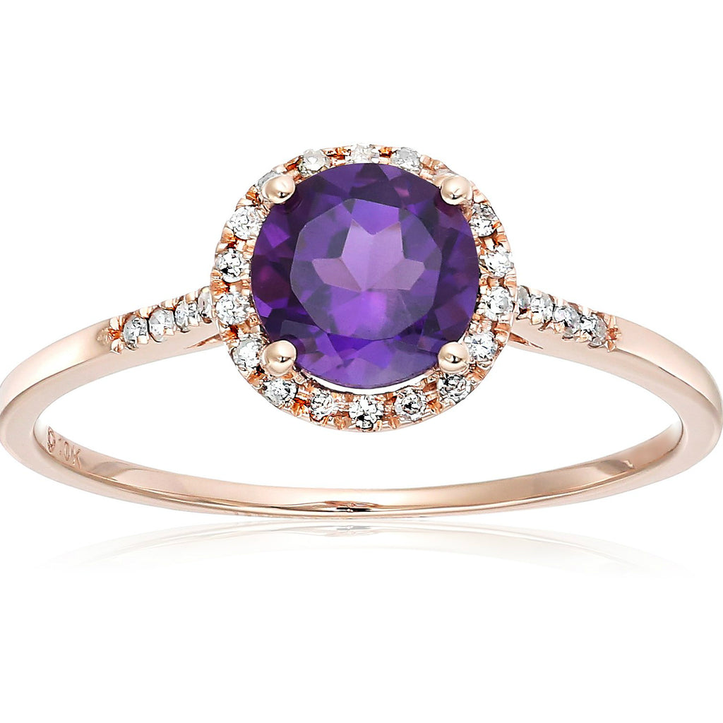 Pinctore 10k Rose Gold African Amethyst and Diamond Classic Princess Di Halo Engagement Ring - pinctore