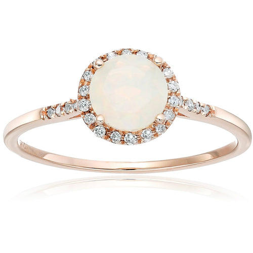 Pinctore 10k Rose Gold Ethiopian Opal and Diamond Classic Princess Di Halo Engagement Ring - pinctore