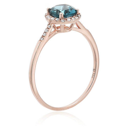 Pinctore 10k Rose Gold London Blue Topaz and Diamond Classic Princess Di Halo Engagement Ring - pinctore