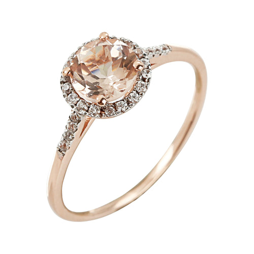 10k Rose Gold Morganite And Diamond Classic Princess Di Halo Engagement Ring (1/10cttw, H-I Color, I1-I2 Clarity), - pinctore
