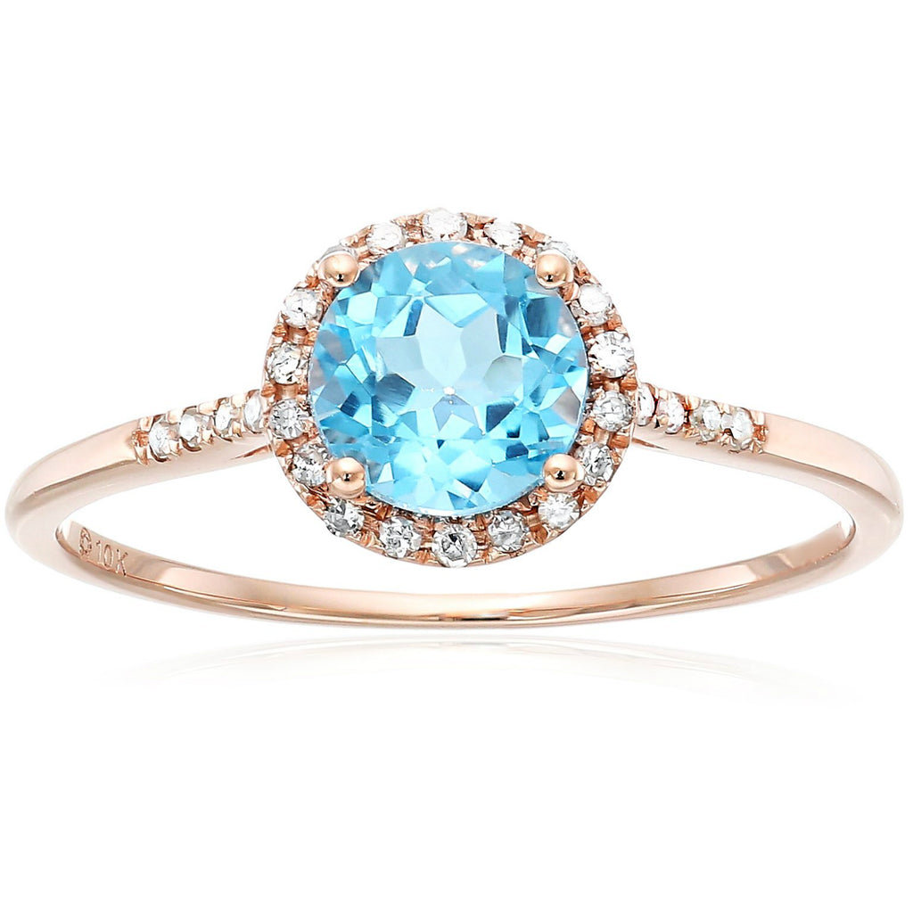 Pinctore 10k Rose Gold Swiss Blue Topaz and Diamond Classic Princess Di Halo Engagement Ring - pinctore