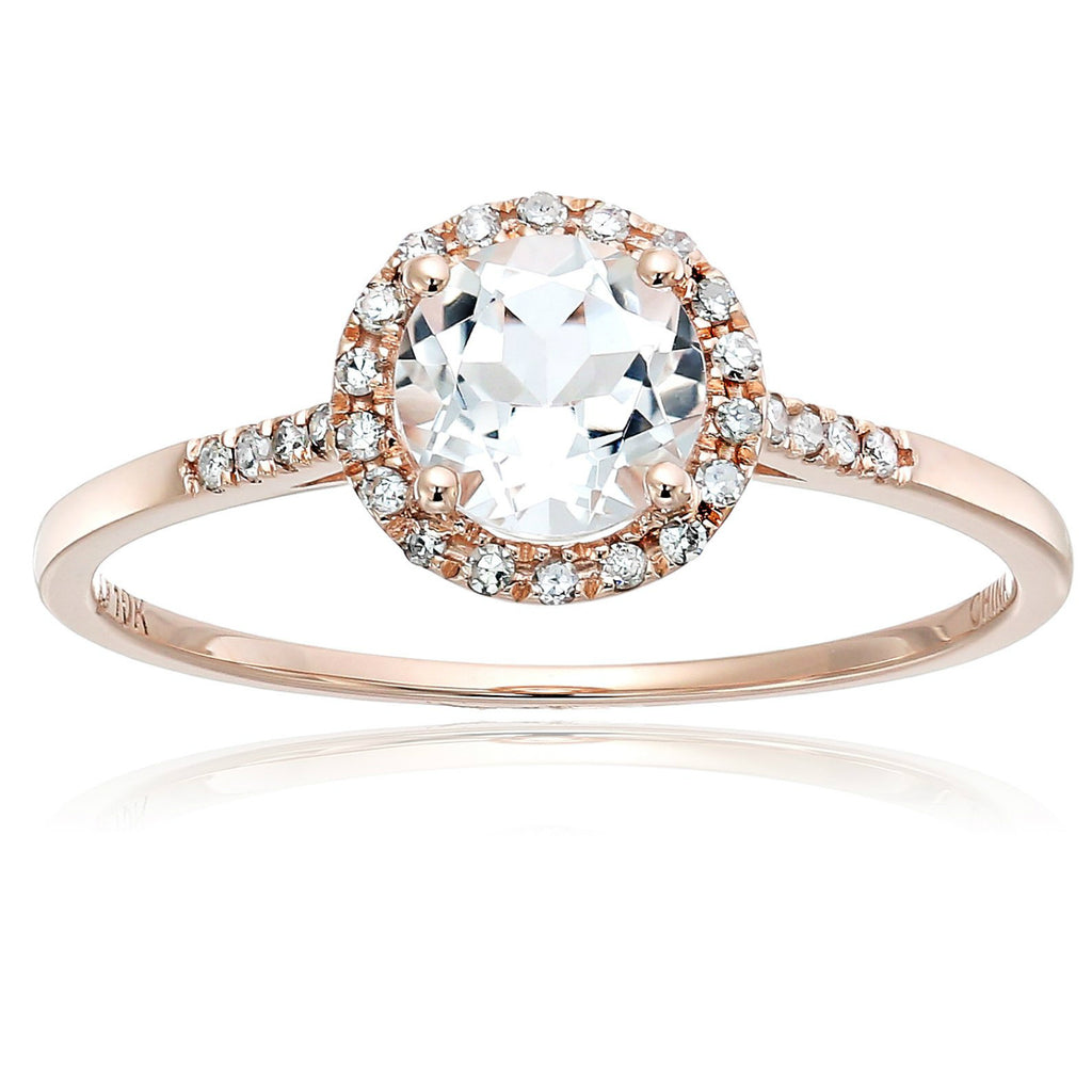 Pinctore 10k Rose Gold White Topaz and Diamond Classic Princess Di Halo Engagement Ring - pinctore