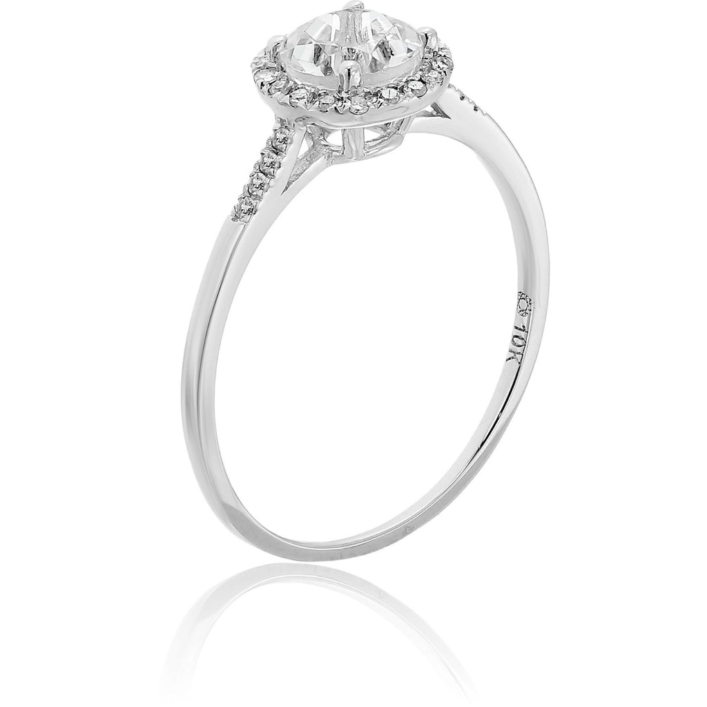 Pinctore 10k White Gold White Topaz and Diamond Classic Princess Di Halo Engagement Ring - pinctore