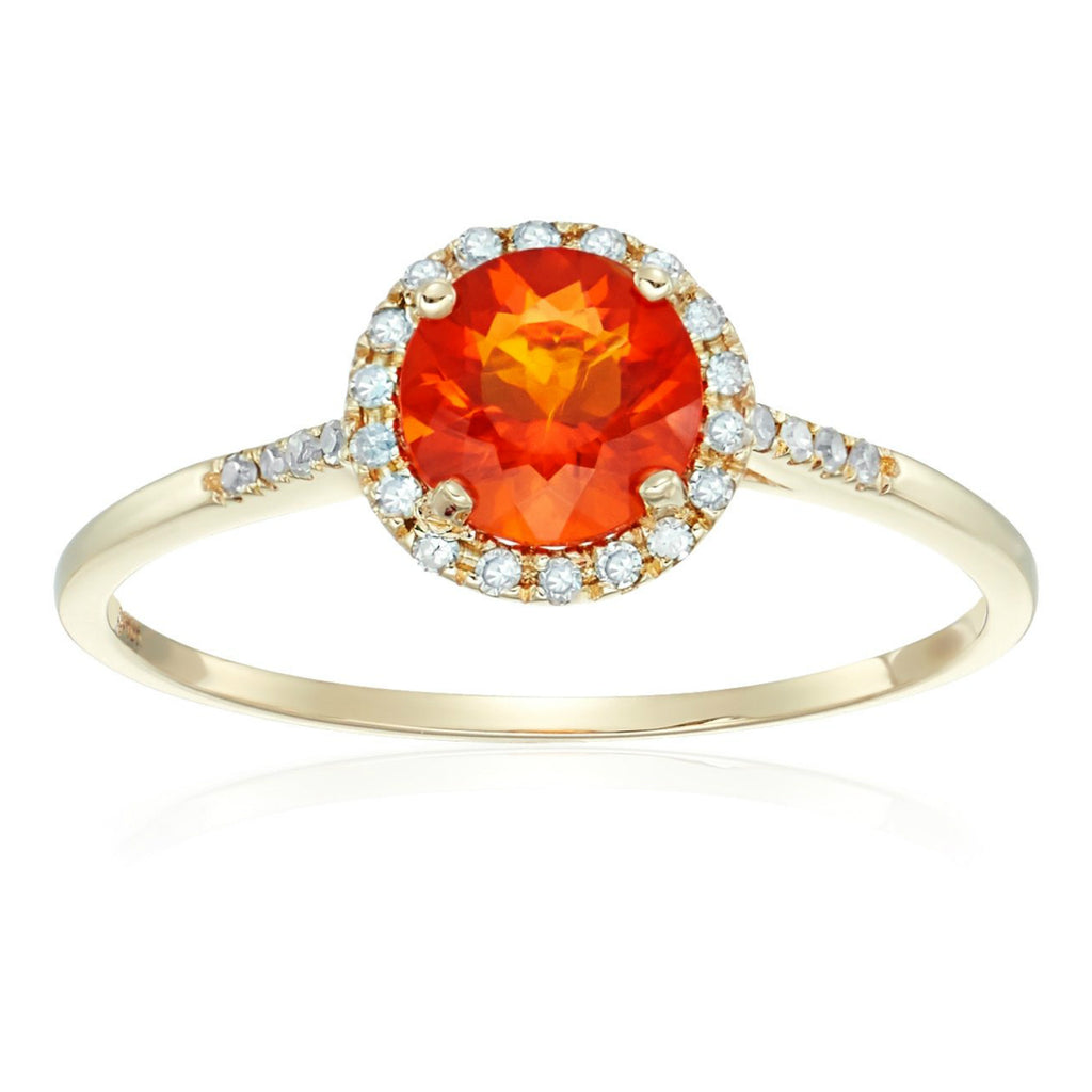 Pinctore 10k Yellow Gold Fire Opal and Diamond Classic Princess Di Halo Engagement Ring - pinctore