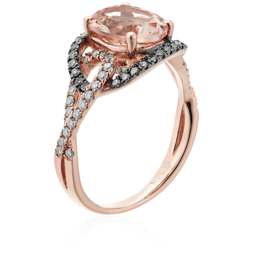 Pinctore 14k Rose Gold Morganite And Brown Diamond Swirl Shank Halo Engagement Ring - pinctore