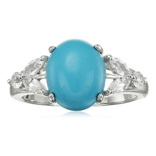 Pinctore Sterling Silver Natural Turquoise, Created White Sapphire Ring - pinctore