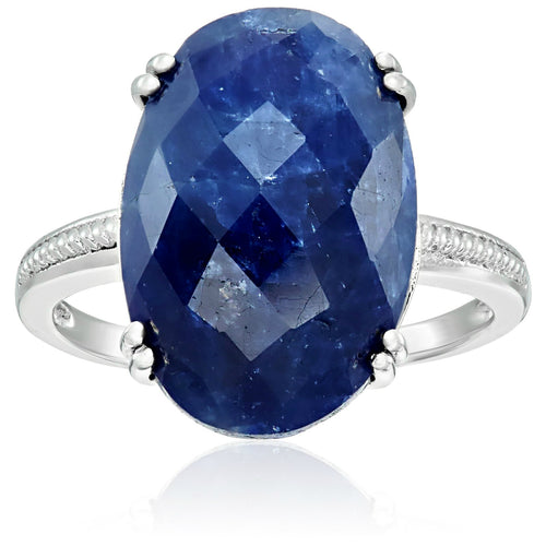 Pinctore Sterling Silver Opaque Blue Sapphire Solitaire Engagement Ring - pinctore