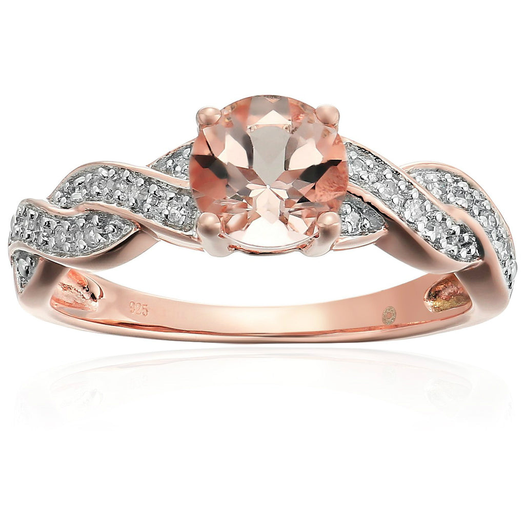 Pinctore Rose Gold-Plated Silver Morganite & Di Twisted Shank Engagement Ring - pinctore