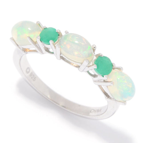 Pinctore Sterling Silver Ethiopian Opal & Emerald 5-Stone Band Ring - pinctore