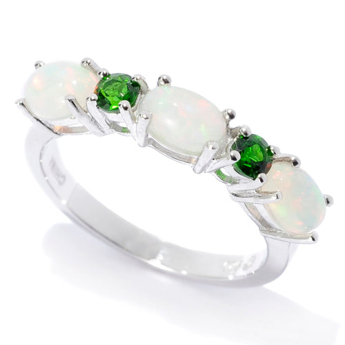 Pinctore Sterling Silver Ethiopian Opal & Chrome Diopside 5-Stone Band Ring - pinctore
