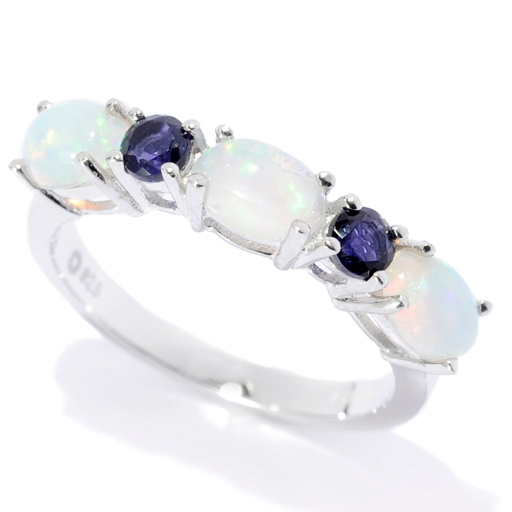Pinctore Sterling Silver Ethiopian Opal & Iolite 5-Stone Band Ring - pinctore