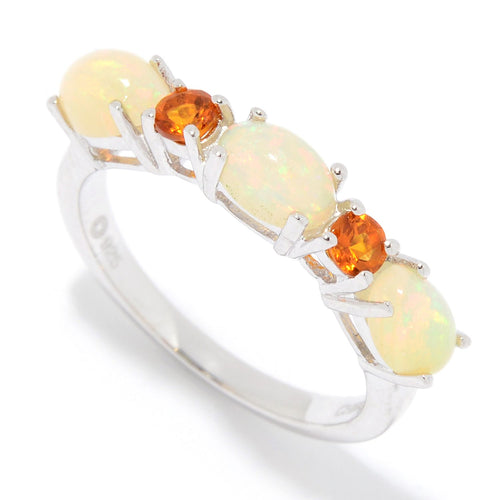 Pinctore Sterling Silver Ethiopian Opal & Citrine 5-Stone Band Ring - pinctore