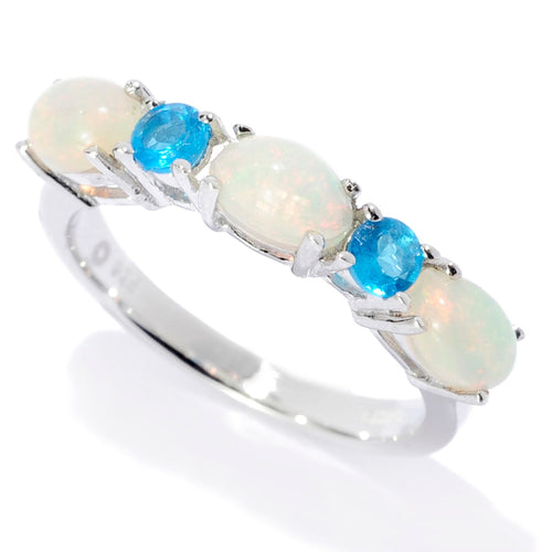 Pinctore Sterling Silver Ethiopian Opal & Neon Apatite 5-Stone Band Ring - pinctore
