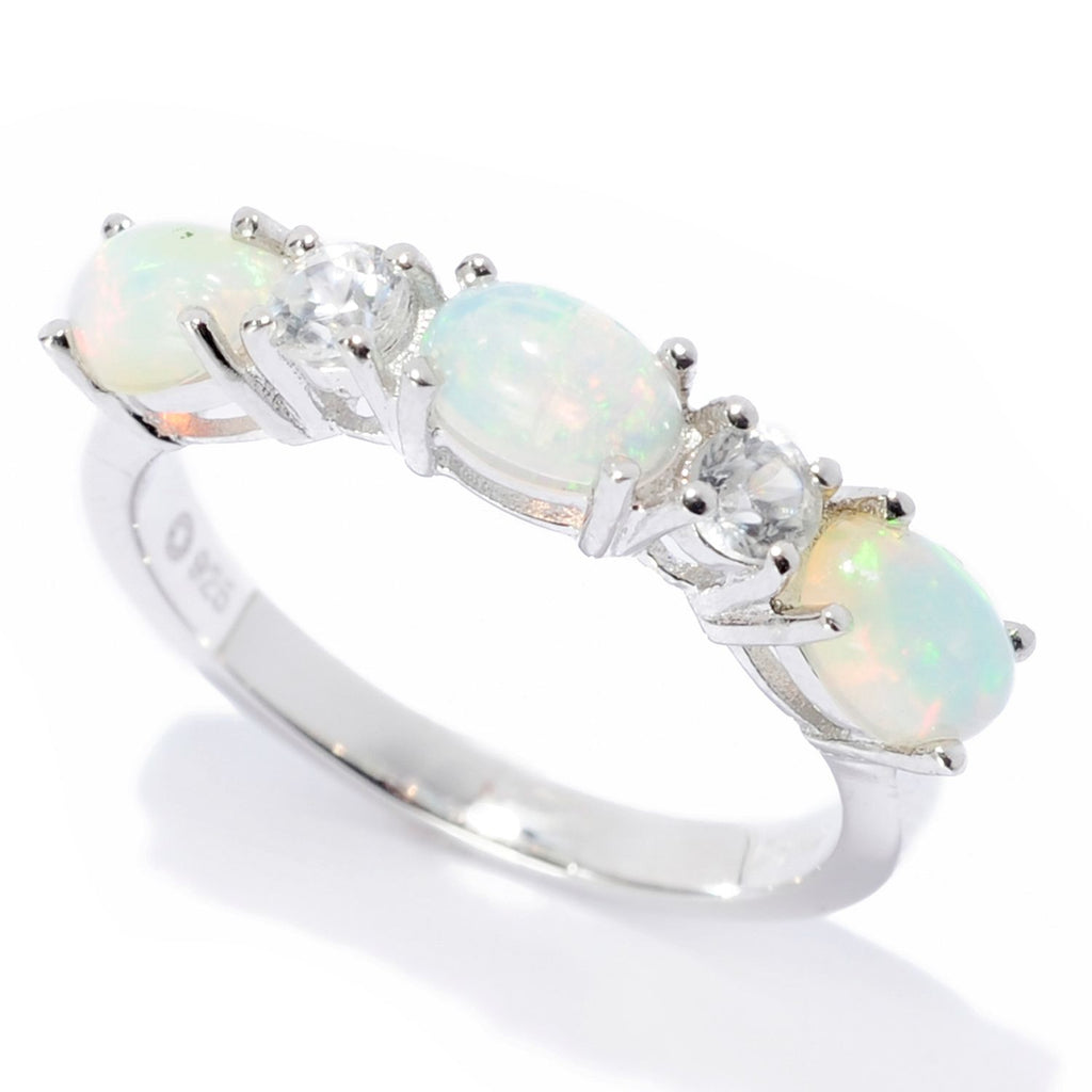 Pinctore Sterling Silver Ethiopian Opal & White Zircon 5-Stone Band Ring - pinctore