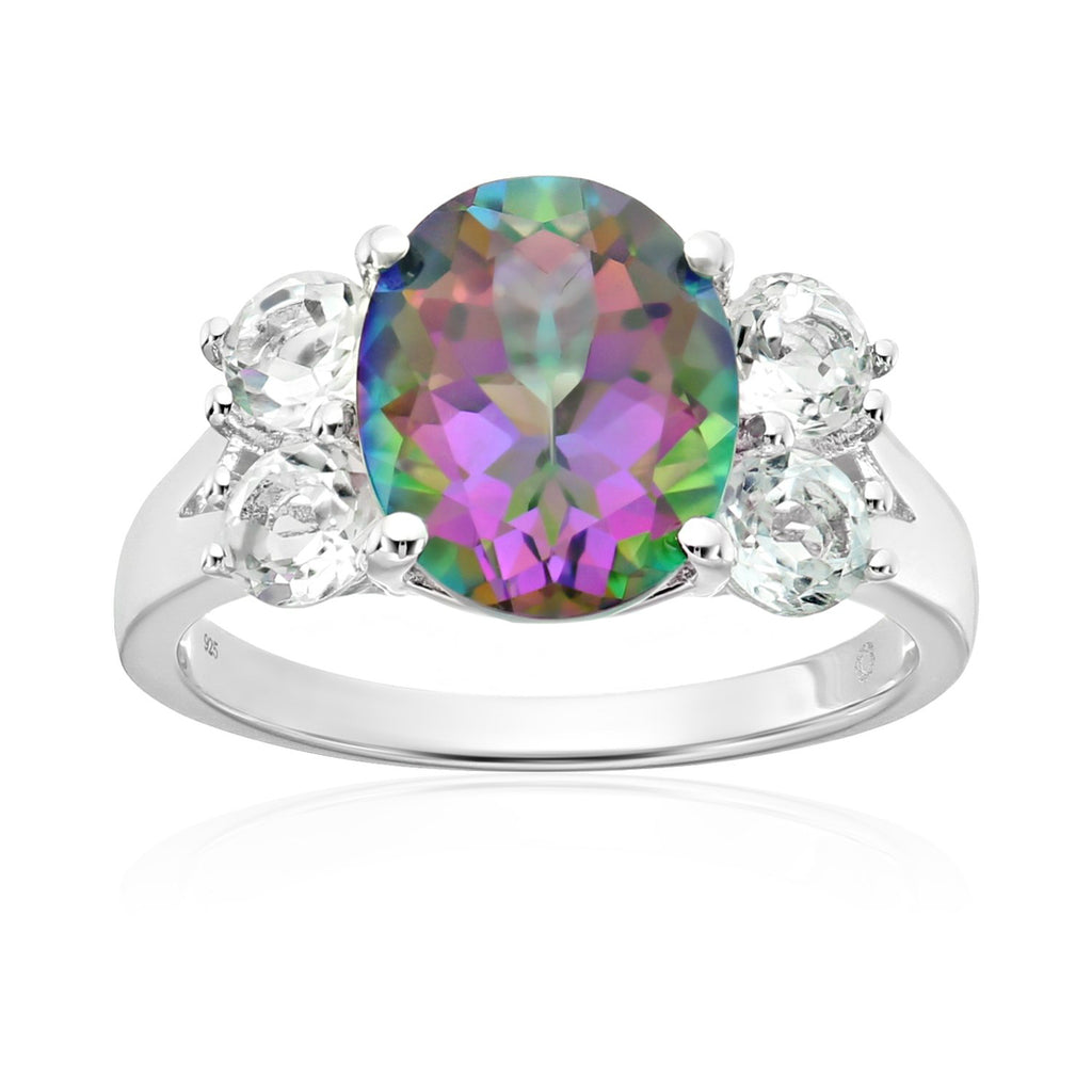 Pinctore Sterling Silver Mystic Topaz Solitaire Engagement Ring - pinctore