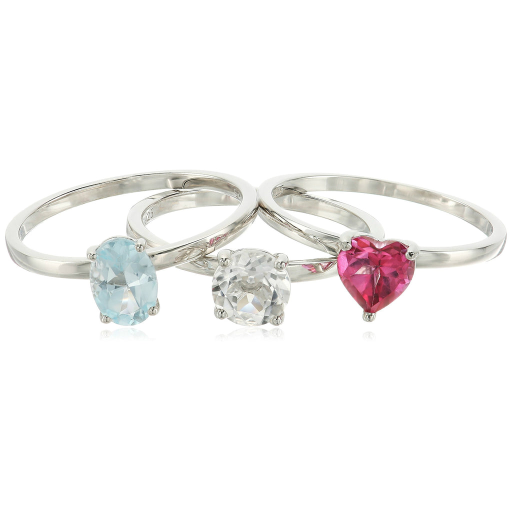 Sterling Silver Pink Topaz And Rock Crystal Accented Set of 3 Stackable Rings, - pinctore
