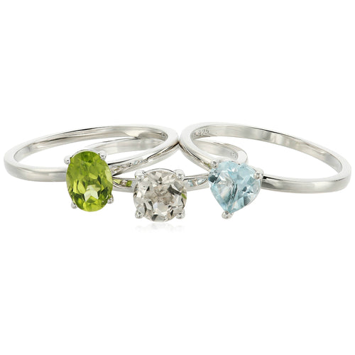 Sterling Silver Sky Blue Topaz And Rock Crystal Accented Set of 3 Stackable Rings, - pinctore