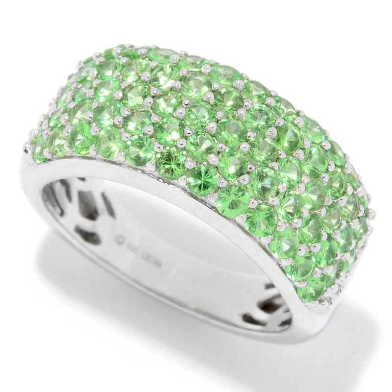Pinctore Sterling Silver 1.90ctw Tsavorite Five-Row Band Ring - pinctore
