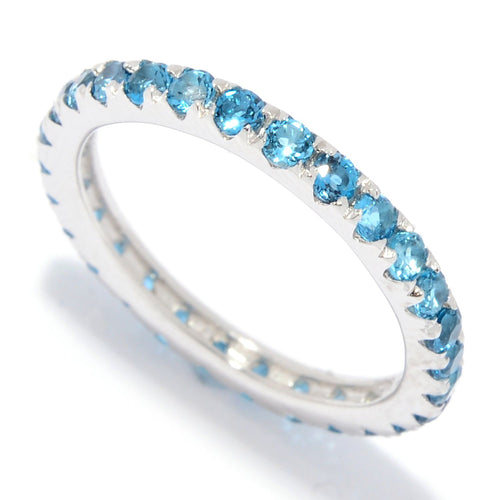 Pinctore Sterling Silver London Blue Topaz Band Ring - pinctore