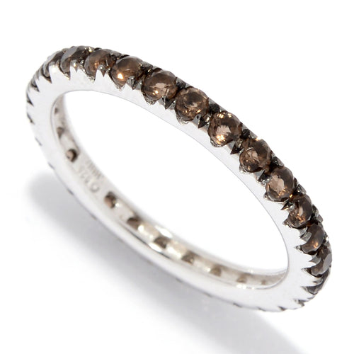 Pinctore Sterling Silver Smoky Band Ring - pinctore