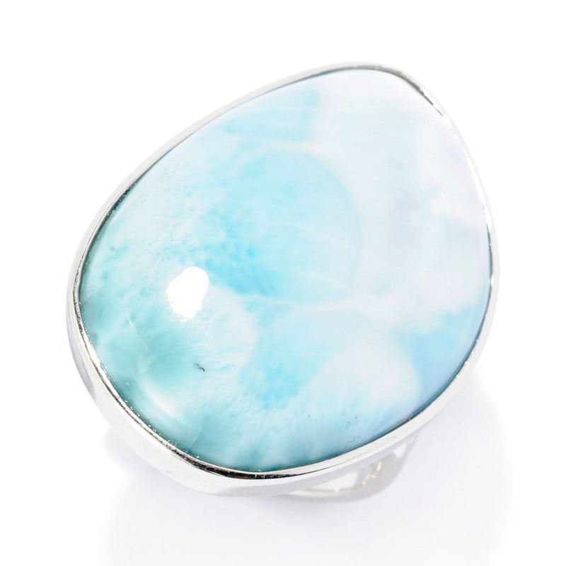 Pinctore Sterling Silver 27 x 20mm Freeform Larimar Ring - pinctore