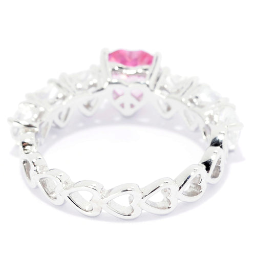 Pinctore Sterling Silver 2.40ctw Bahaman Pink & White Topaz Heart Band Ring