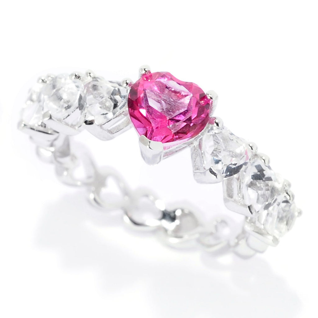 Pinctore Sterling Silver 2.40ctw Bahaman Pink & White Topaz Heart Band Ring - pinctore