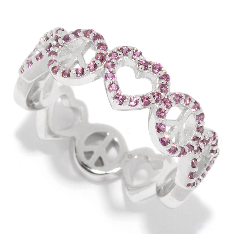 Pinctore Sterling Silver Rhodolite Eternity Band Ring - pinctore