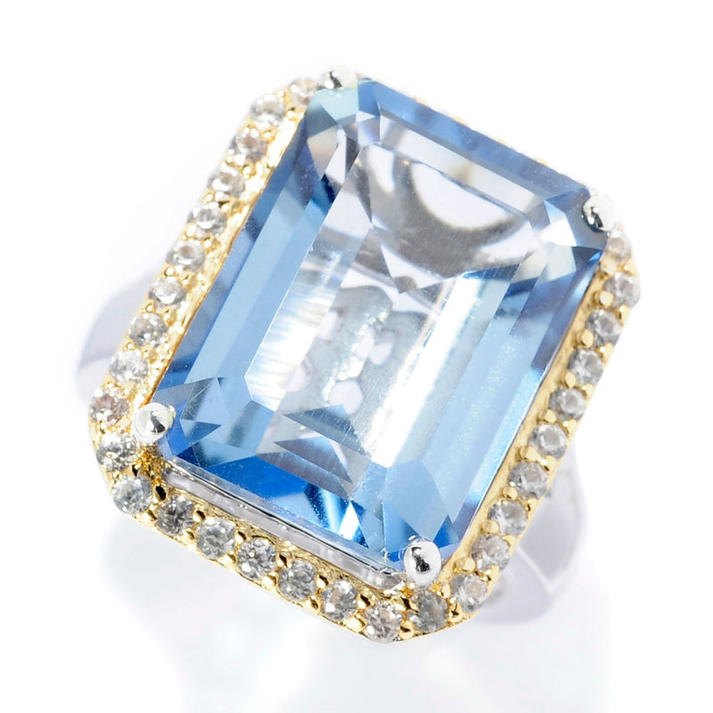 Pinctore Sterling Silver 11.70ctw Aquamarine color Quartz & White Zircon Halo Ring - pinctore